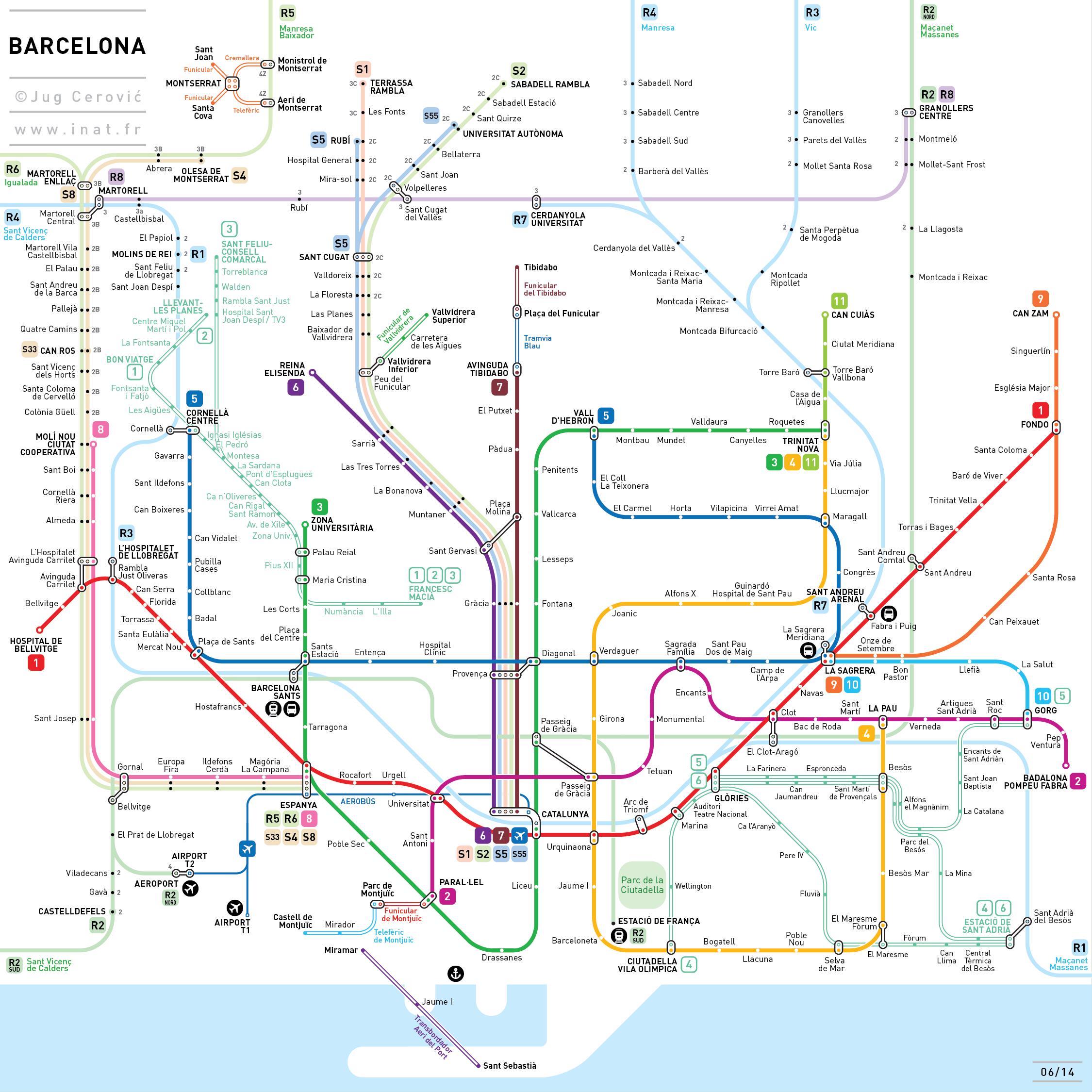 Barcelona Subway Map.Barcelona Metro Map Jug Cerovic Historical Maps Subway Map