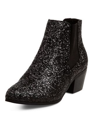 Black Glitter Western Boots | New Look