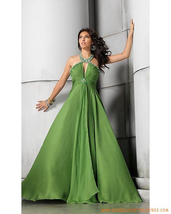 Robe cocktail longue verte