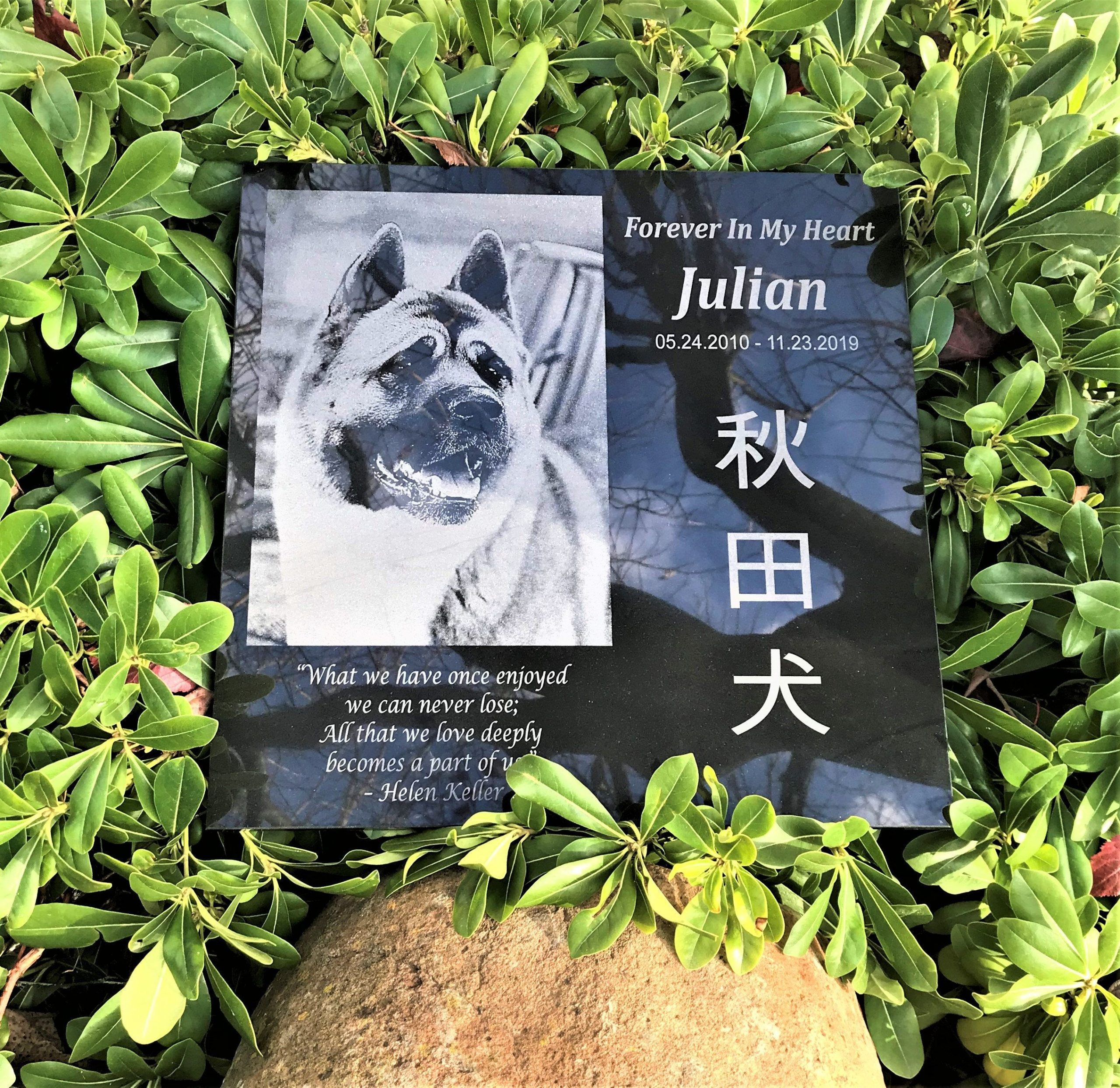 Loving Pet Dog Custom Design and Engraved Garden Memorial Stone  Pet Garden Stone Pet Garden Marker Custom Designs Engraved pet photocustom