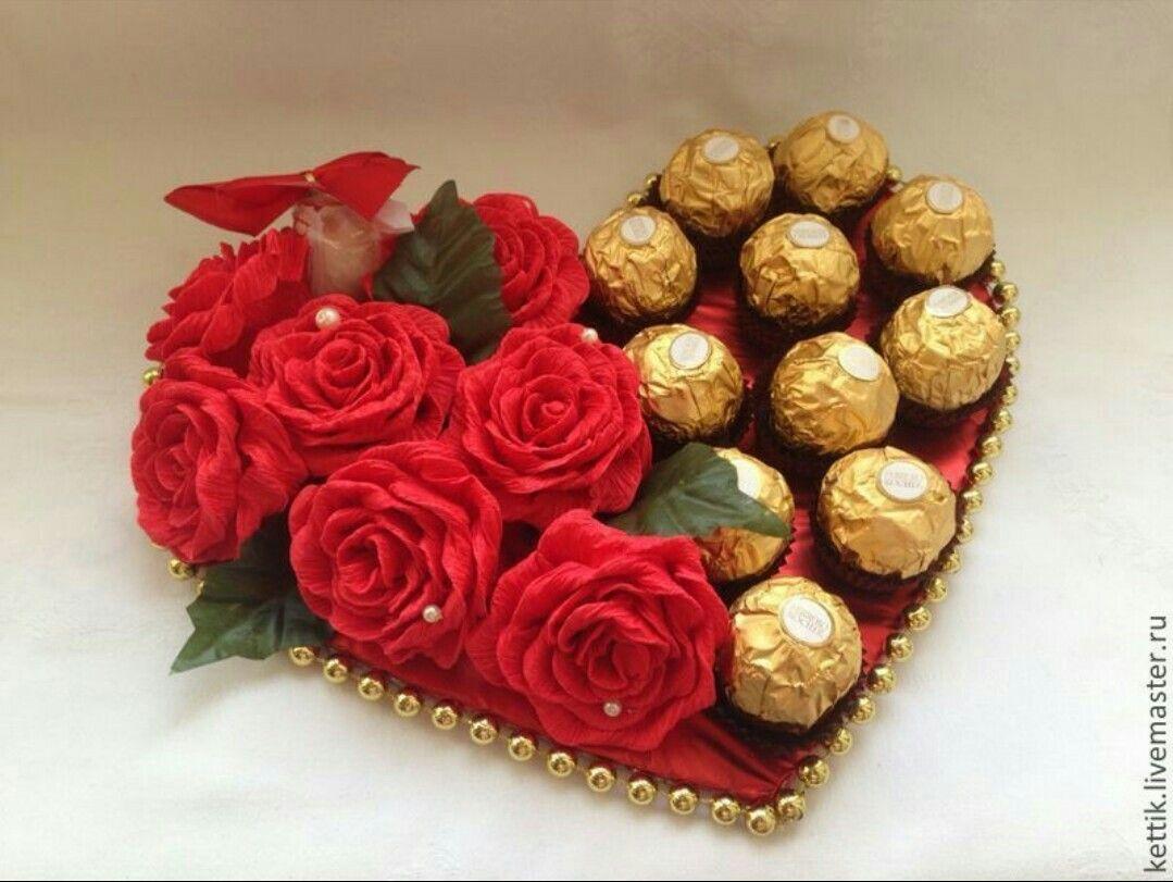 Недорогие, конфетные букеты 14 февраля