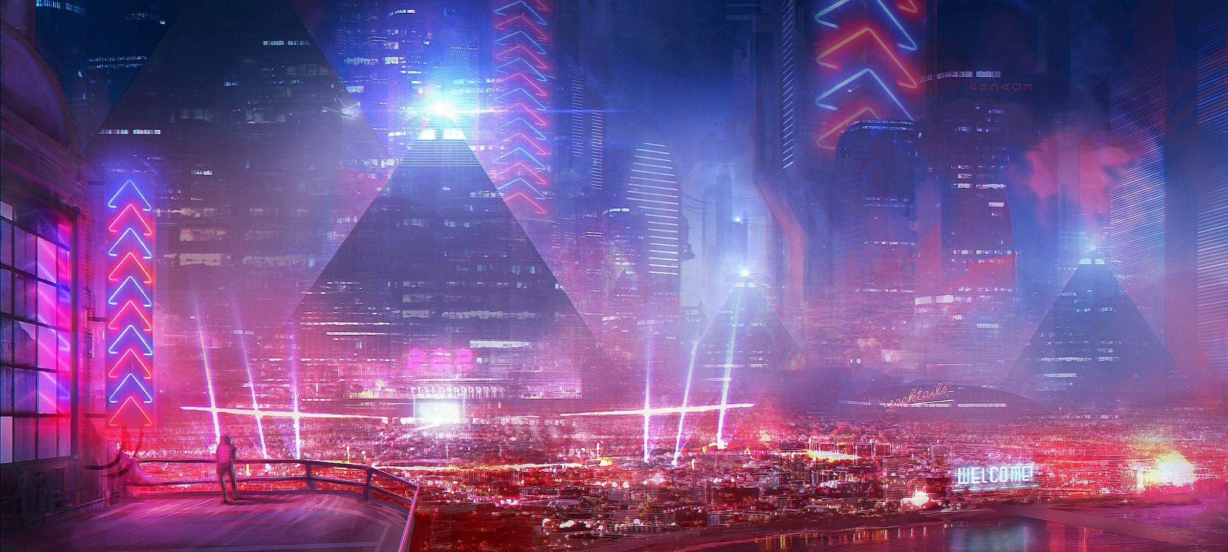 Future Light City Other Jpg 2400 1080 Ville Cyberpunk Photographie De Paysages Fond Ecran
