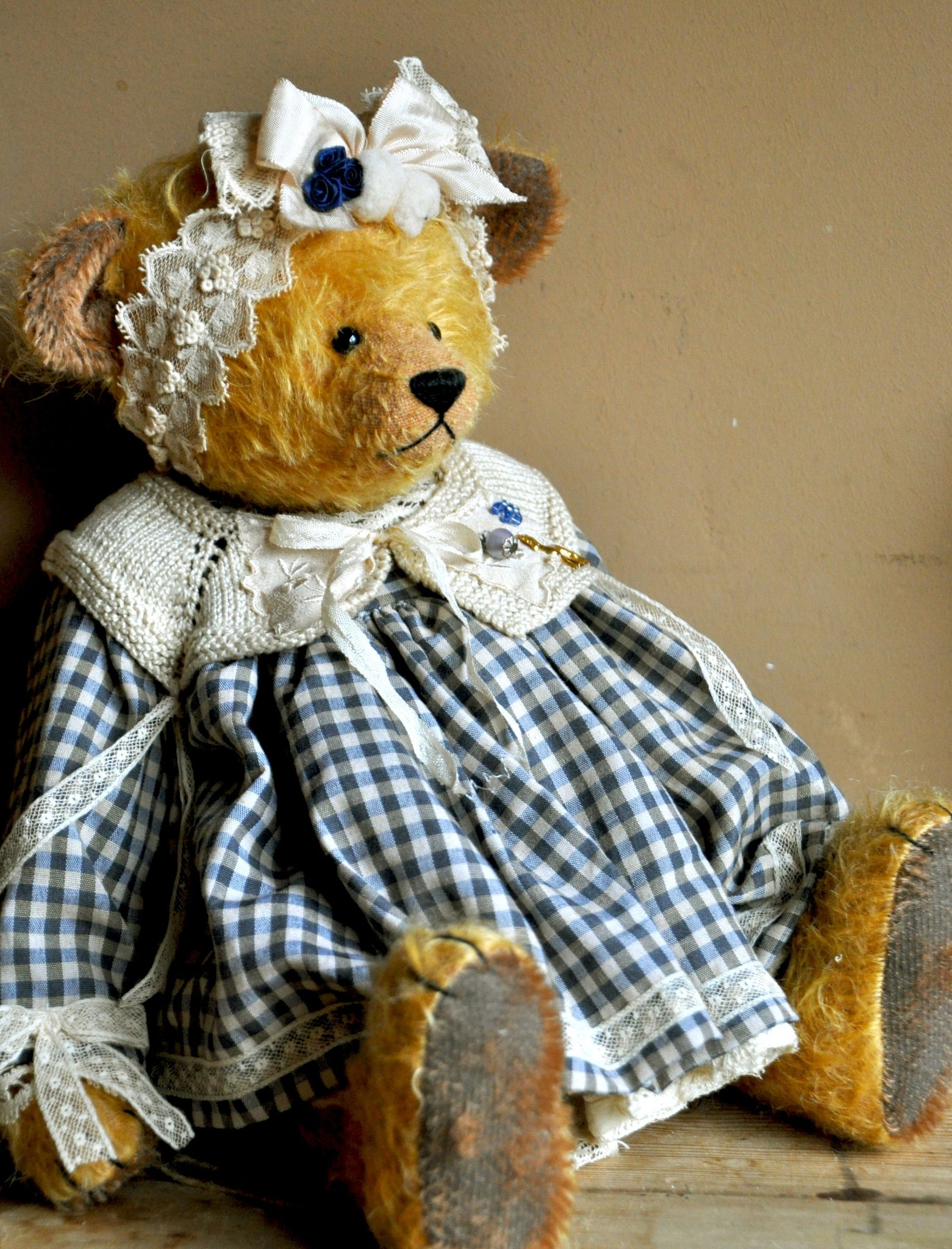 Beautiful Bear In Gingham Dress.