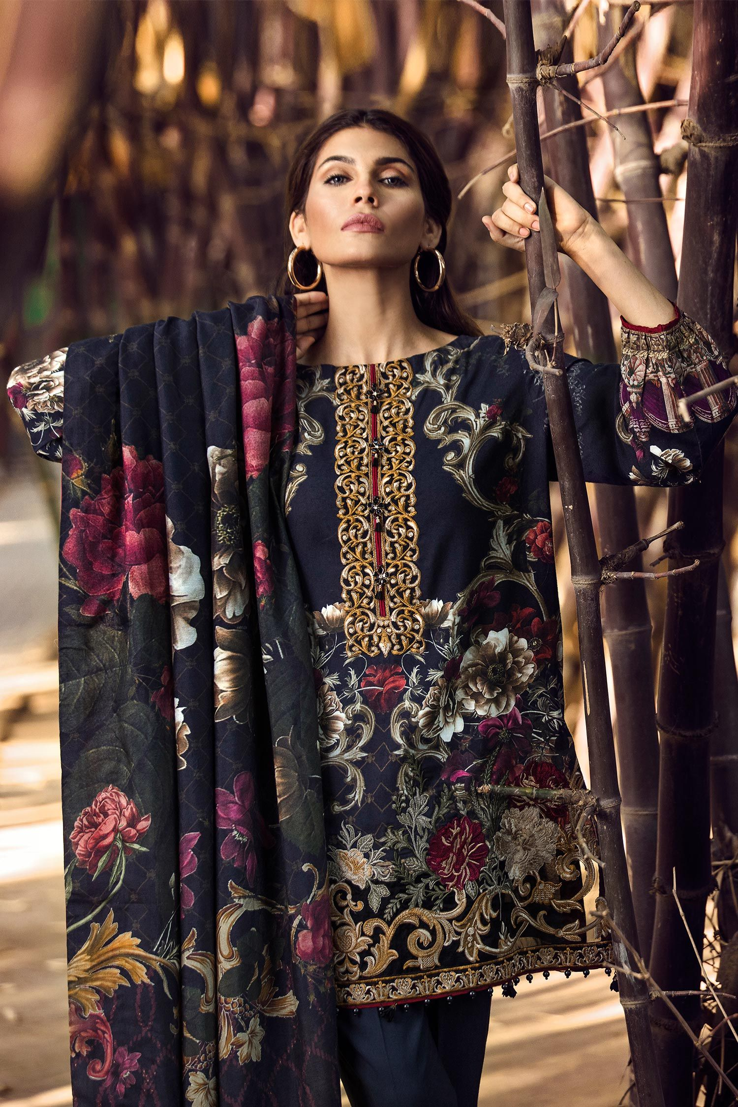 d93cfa3b74 Baroque Fuchsia Embroidered Linen Collection 2017 With Price for Online  shopping
