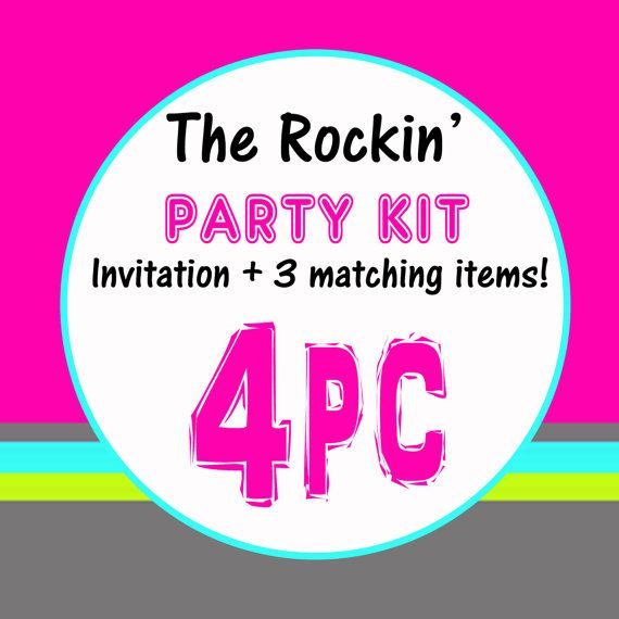The rockin' party kit invitation with 3 coordinates by paperclever, $33.00