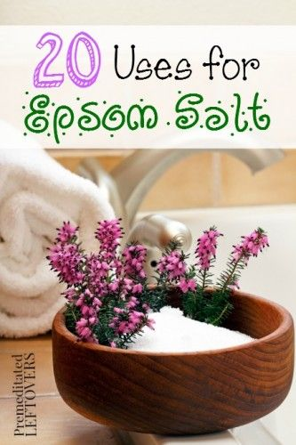 20 Frugal Uses for Epsom Salt - Premeditated Leftovers. I can't say enough good things about using an Epsom salt solution on all your plants (the cheap stuff from the drug store is fine, just don't buy the scented type). Here's more things to do with Epsom salts.