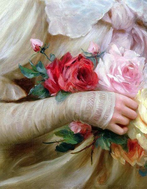 Elegant Lady with a Bouquet of Roses, Emile Vernon. Detail xHermann