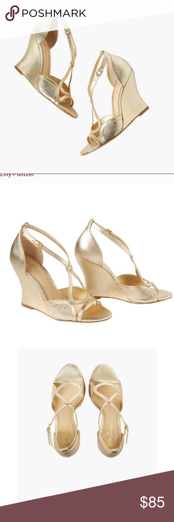 c33234cd6f51 VGUC Lilly Pulitzer Janie Gold Wedges ❤ size 9 Metallic embossed leather  acged wedge