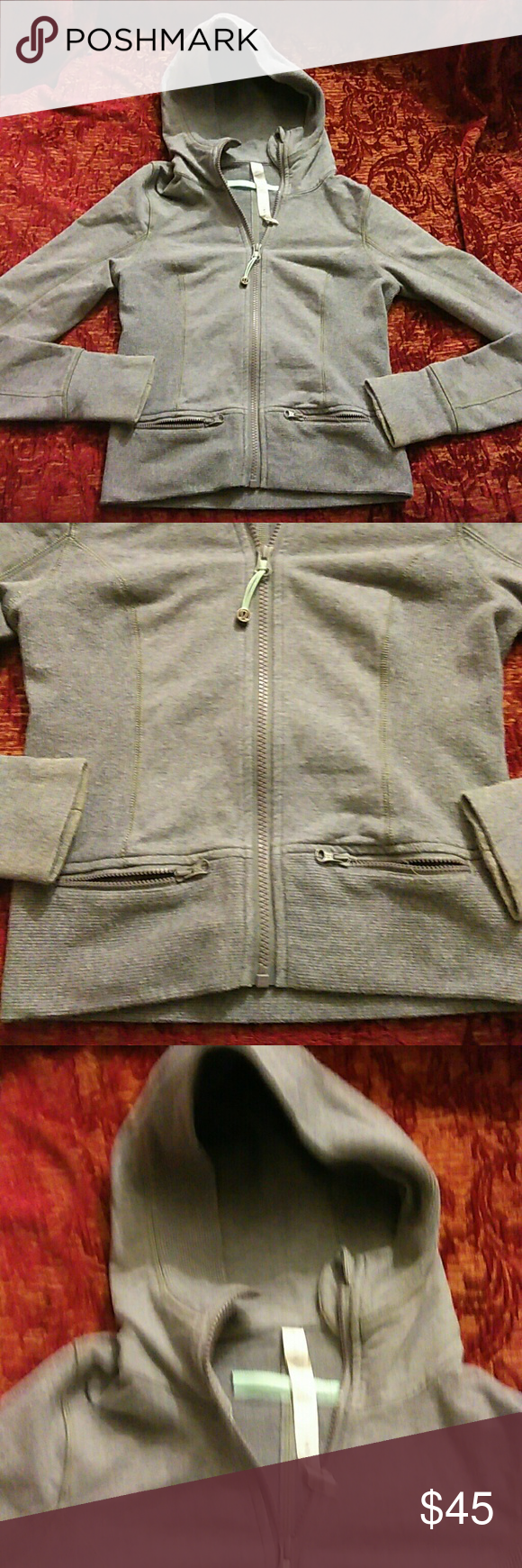 "Lululemon Gray Hoodie Jacket Great condition. Length: 19"", armpit to armpit: 16"", shoulder to shoulder:13"", sleeves: 25"". Material: 95% cotton, 5% spandex. lululemon Jackets & Coats"