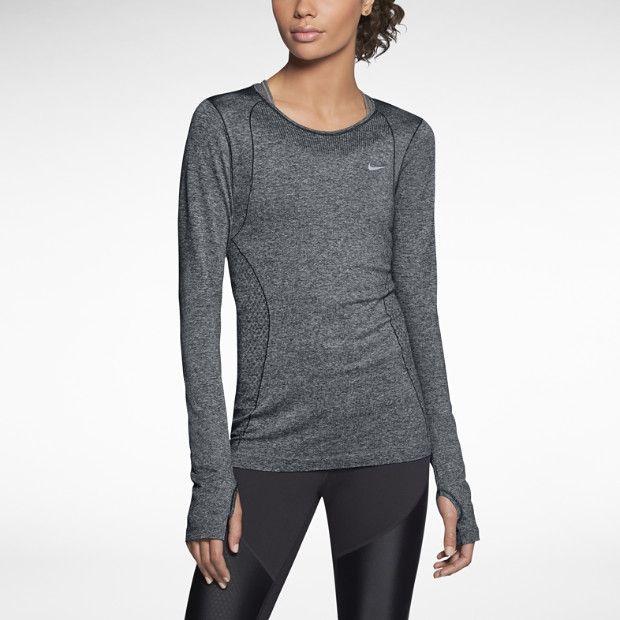 Nike Dri-FIT Knit Long-Sleeve Women's Running Shirt $70 black/heather/