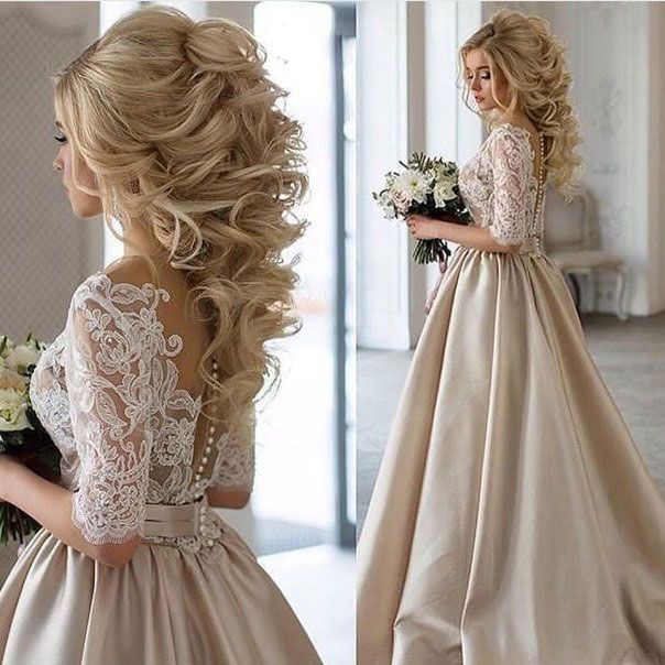 Custom Ball Gown Champagne Wedding Dresses Half Sleeves Rambut