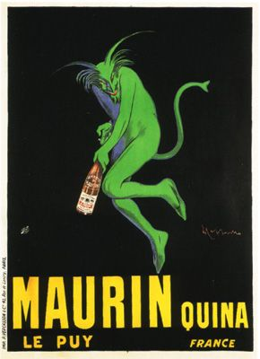 Galerie Montmartre - Maurin Quina (1906) by Leonetto Cappiello. This is another of my favourite vintage posters. Cappiello is described as 'the father of the modern poster'. In its day, the drink being advertised here rivalled absinthe (the 'green fairy'). This one is the 'green devil'. Not sure how I'd feel having it on my wall though...