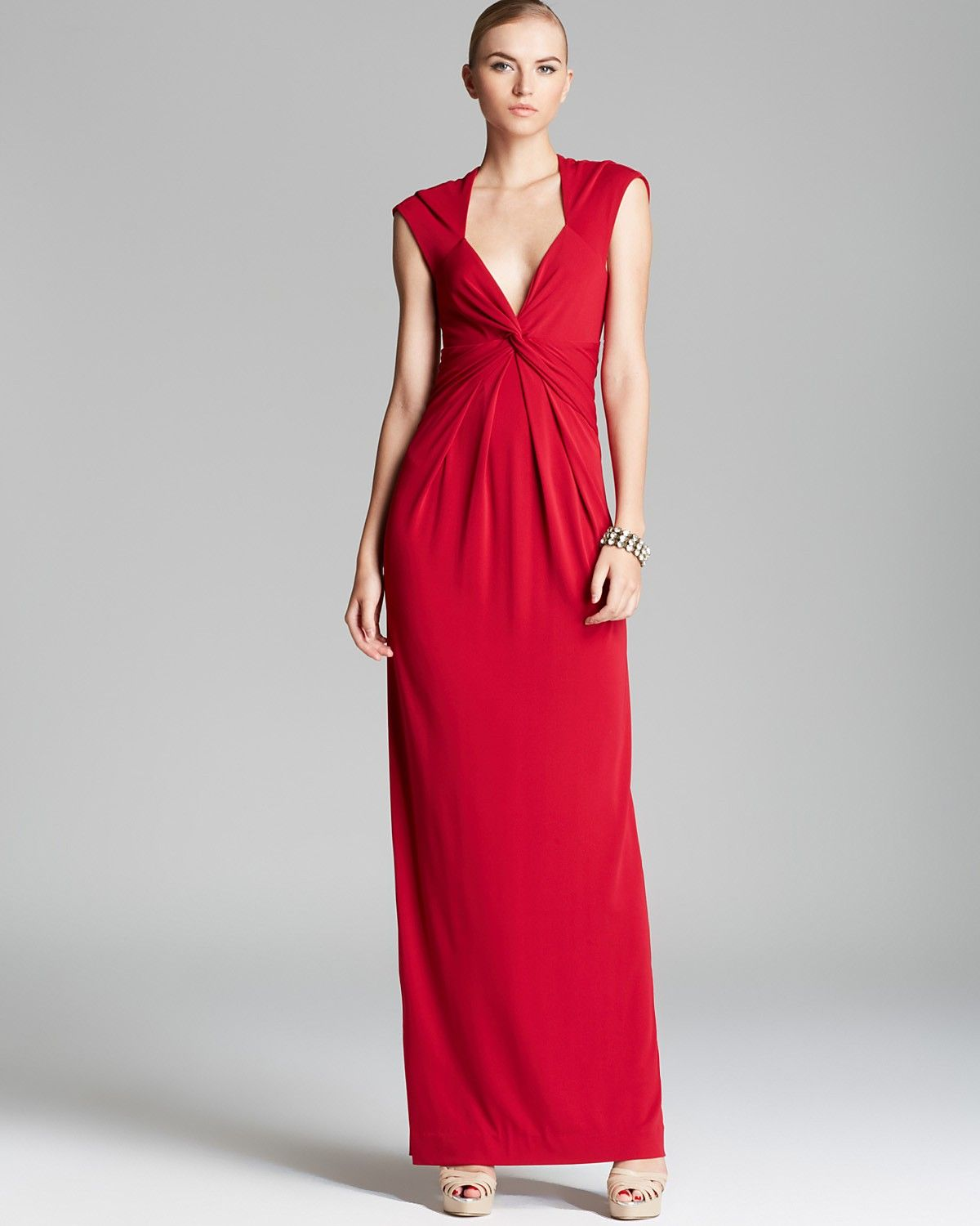 Nicole Miller V Neck Gathered Waist Gown - Cap Sleeve | Bloomingdale's