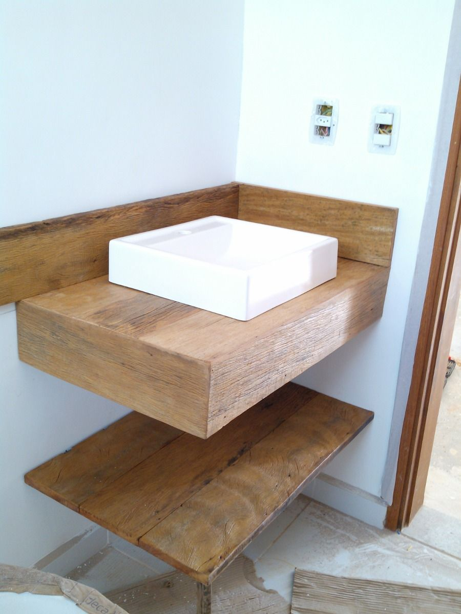 bancadas em madeira de demolição banheiro lavabo peroba rosa  Ideias para a  -> Cuba Para Banheiro Rosa
