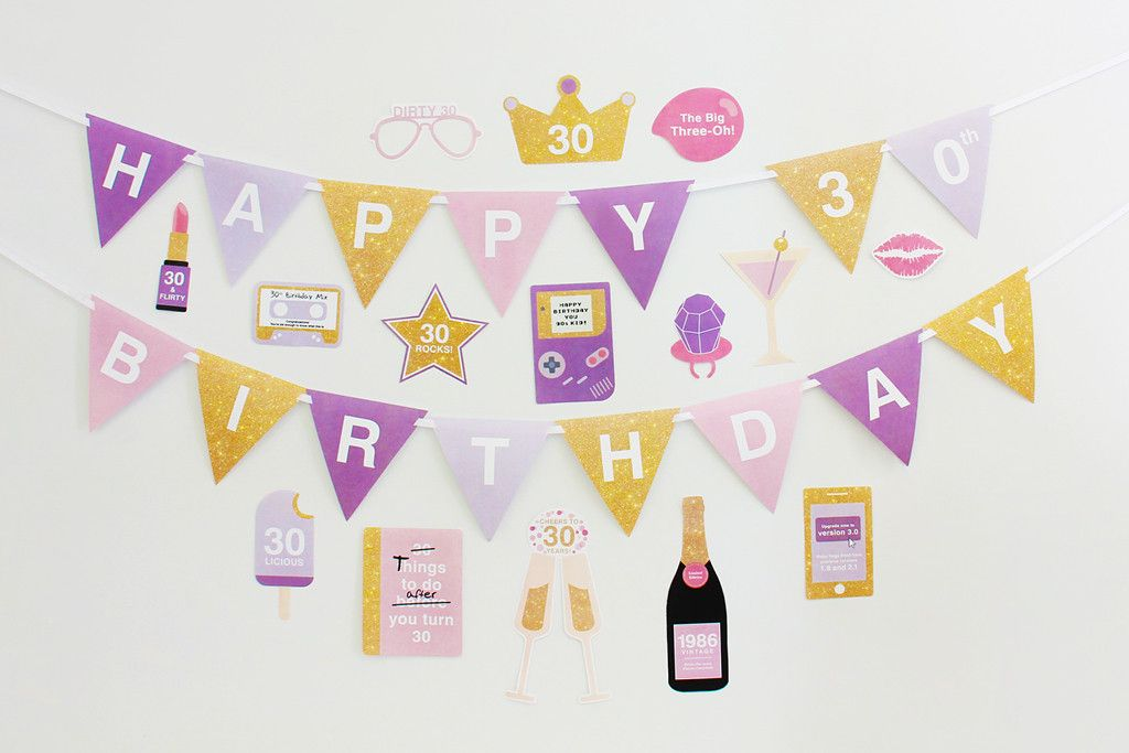 30th Birthday Party Decorations, DIY Party Printable | Creative Sense Co    #30th #30 #birthday #decorations #party #props #photobooth #1986 #lilac #purple #printable