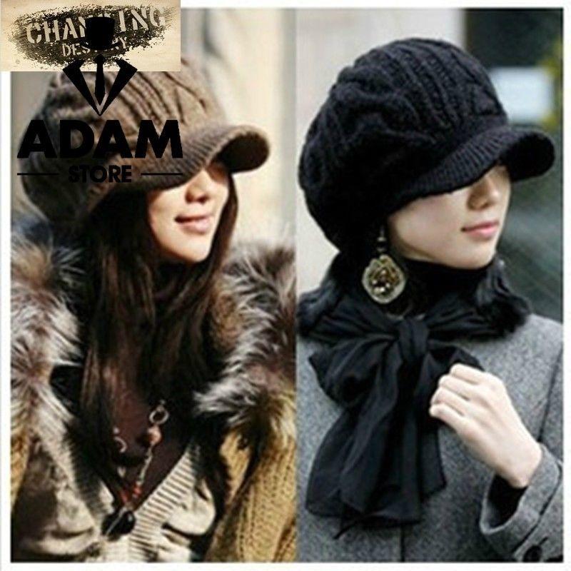 Sombrero de lana de mujer de invierno 2018 gorro de punto femenino  fashion   clothing 5d5a6b7703c