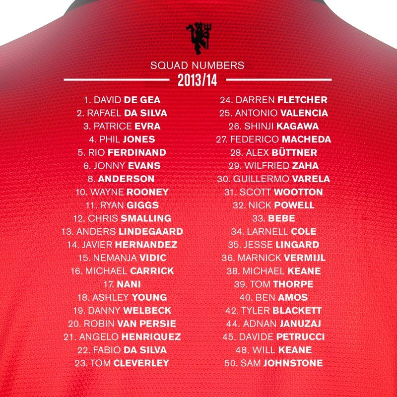 Squad number for 2013/14 season