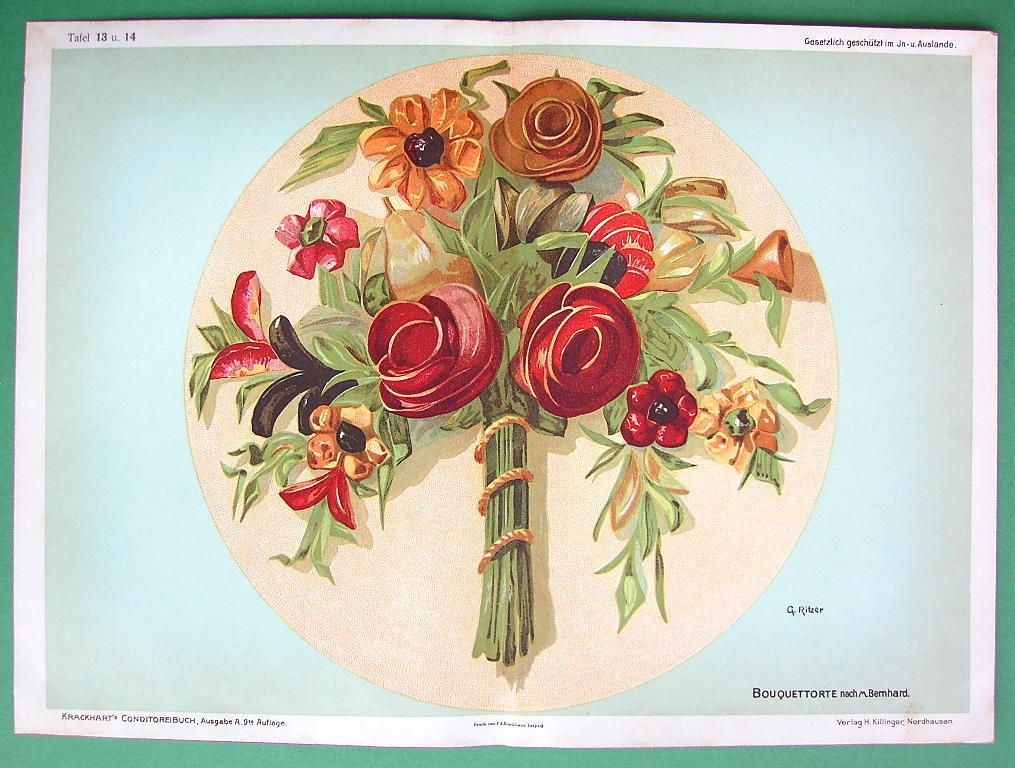 German Baking Cake Decorated with Bouquet of Flowers Color Litho Antique Print | eBay