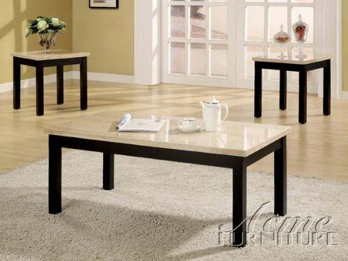 "3-pc Pack Faux Marble Top Coffee Table Set ACS106787 by click2go. $649.99. faux marble top, white/ espresso finish. 1 coffee table with 2 end table. end table:18""x17""x21""H. 3-pc Pack Faux Marble Top Coffee Table Set. coffee table:42""x22""x18""H. some assembly maybe required."
