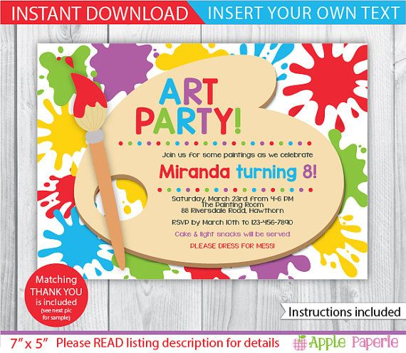 art party printable art party invitation kids art party