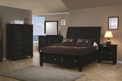 Inland Empire Furniture Wyatt Black Solid Wood Platform Bed w ...