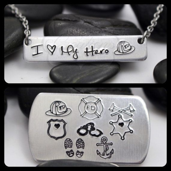 Hand Stamped I Love My Hero Necklace Military By Myherocreations
