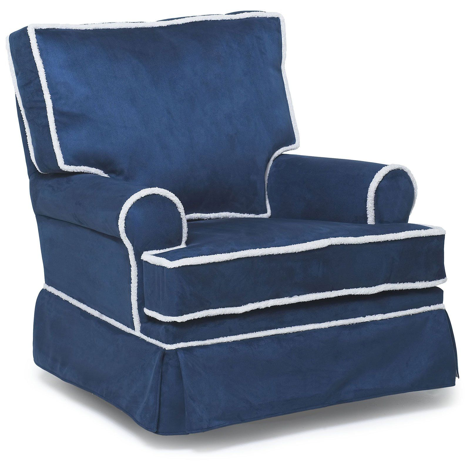 Harmony Kids Square Back Glider With Optional Ottoman Navy Blue