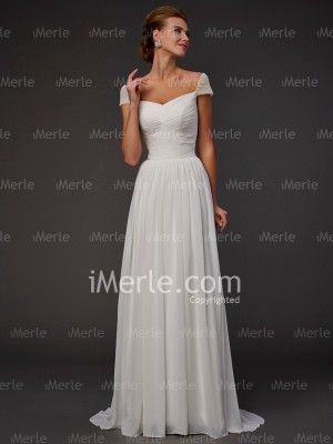 a29725c154083 White A-line/Princess Sweetheart Beading Short Sleeves Sweep/Brush Train  Chiffon Dress for $566.67 - iMerle.com