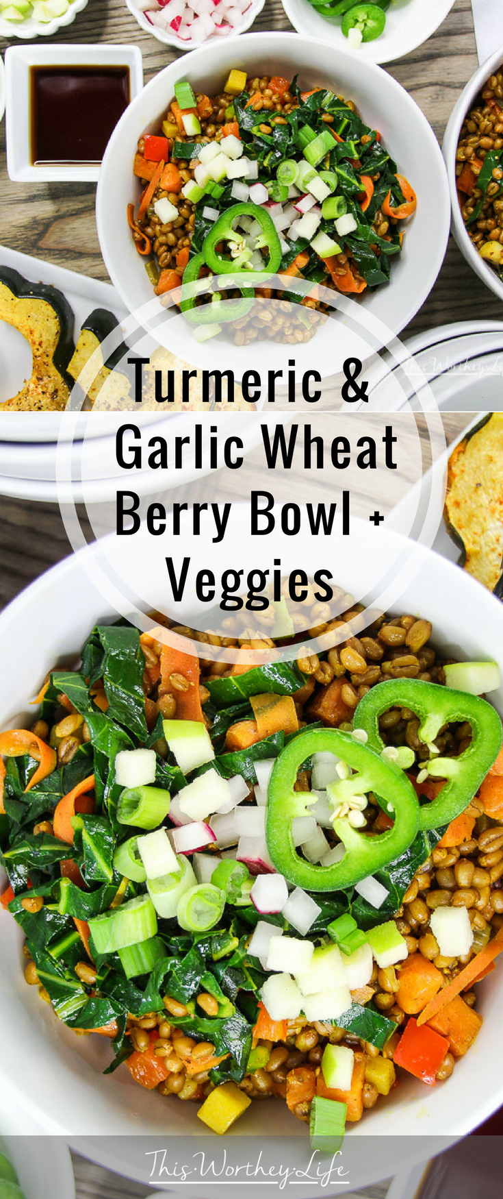 This vegetarian bowl is a healthy, delicious grain recipe that is also hearty and will have you coming back for seconds. We made the #wheatberry in the Instant Pot and it turned out amazing. Our Turmeric & Garlic Wheat Berry Bowl + Veggies #recipe is one to add to your list of #healthy recipes to try this year! With the convenience of using an #instantpot for the wheatberry- this recipe is rated #easy!