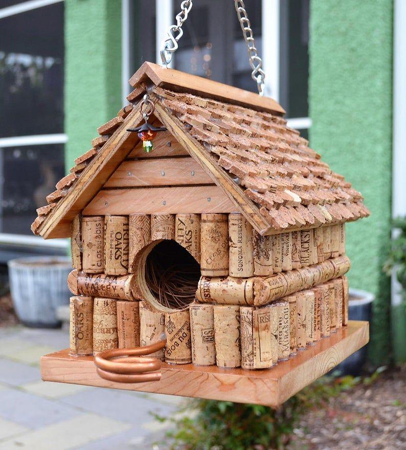 CUSTOM MADE Bird House using Repurposed Wine Corks