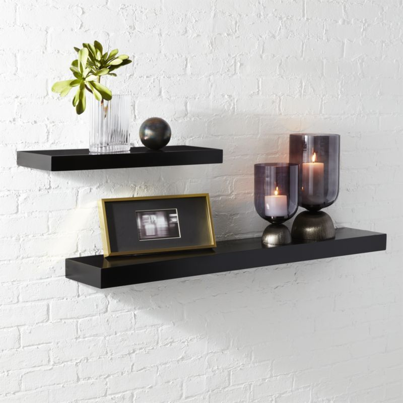 Shop Calvin Black Floating Shelves Ultra Minimal Ledge Makes A Clean Display Without A Hin Black Floating Shelves Floating Shelves Floating Shelves Bathroom