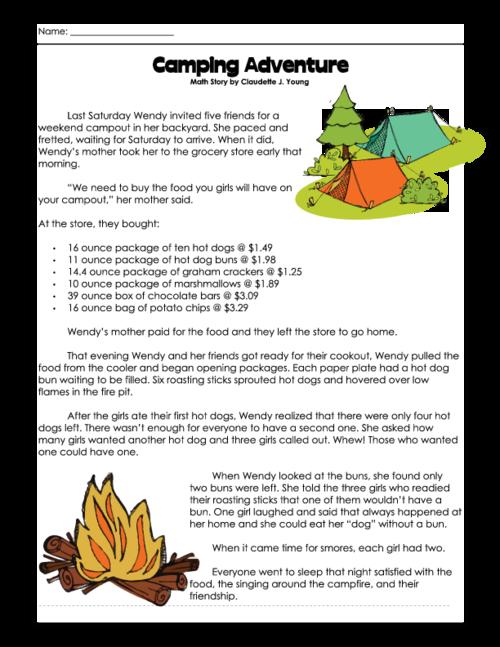 Math Story Camping Adventure Kidspressmagazine Com Math Connections Math Fun Math