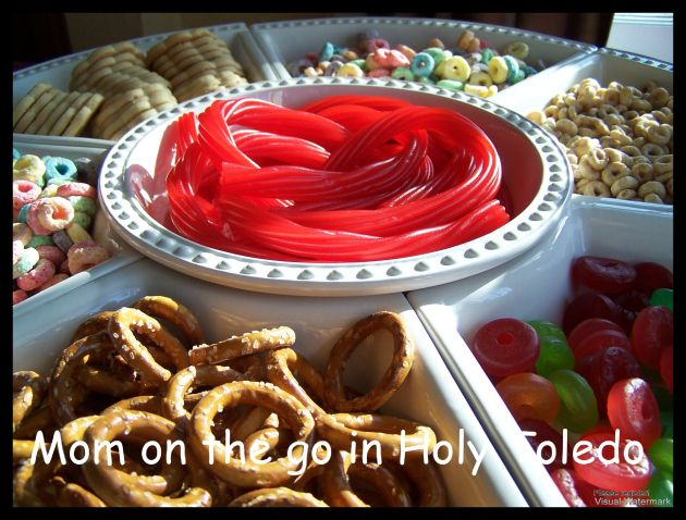 Have kiddos make edible jewelry or put together a small kit to hand out to friends