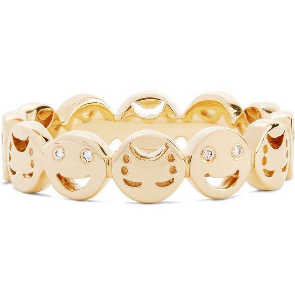Alison Lou Happy/ Sad 14-karat gold diamond ring ($1,545) ❤ liked on Polyvore featuring jewelry, rings, diamond jewellery, alison lou jewelry, handcrafted jewelry, 14k jewelry and diamond jewelry