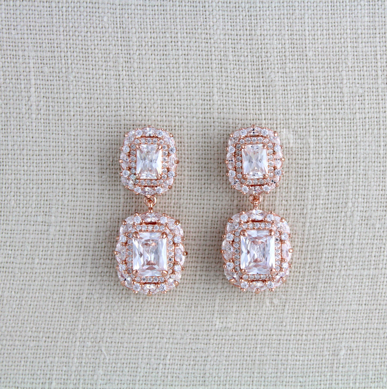 Rose Gold Bridal Earrings Bridal Jewelry Crystal Drop Etsy Silver Earrings Wedding Rose Gold Bridal Earrings Bridal Earrings