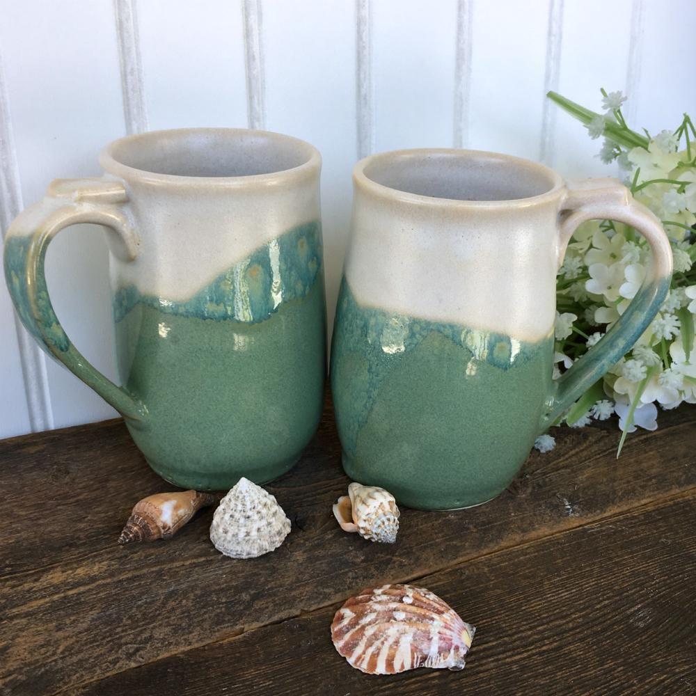 Beach chic coffee mug set pottery mugs mugs set
