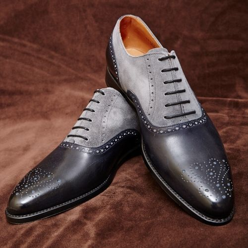 Handmade men dress leather brogue two tone shoes,Men black and gray formal shoes    eBay is part of Black formal shoes - Upper genuine Calf Leather and suede  Lining soft calf leather  Style Oxford  Sole Genuine cow leather  Heel Cow leather  Customization Yes we do customize colors and size