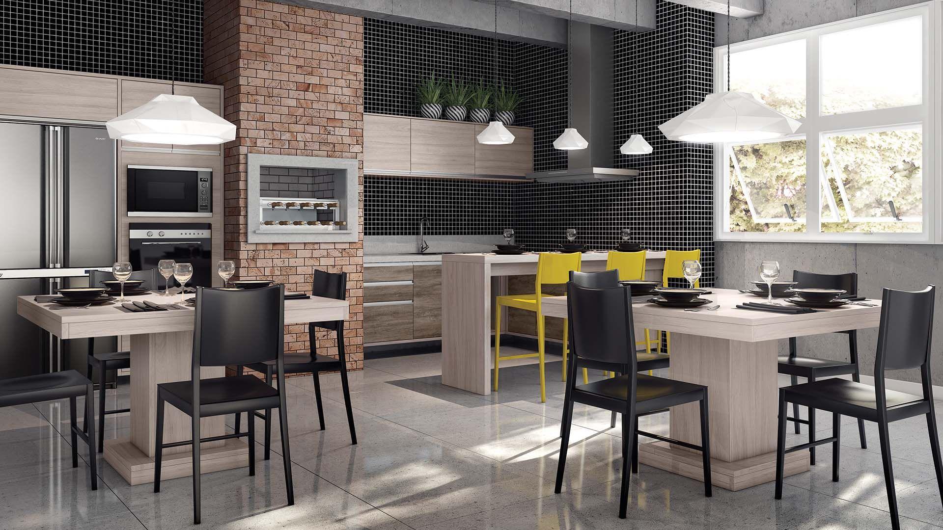 Cozinha Planejada com churrasqueira  cozinha  Pinterest # Cozinha Planejada Com Churrasqueira