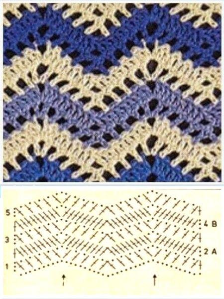 points-crochet-avec-deux-couleurs-5 | châles & cie | Pinterest ...