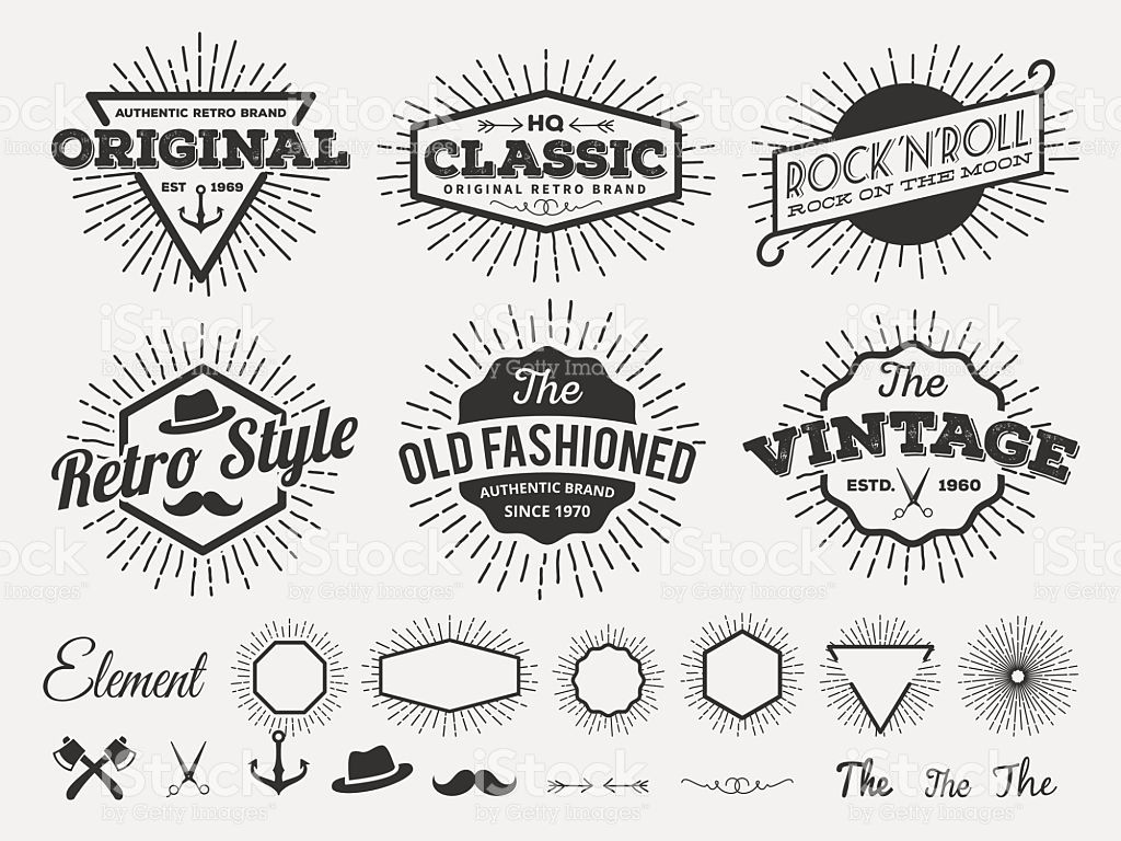 Monochrome Vintage Logo Badge Label For T Shirt Screen And