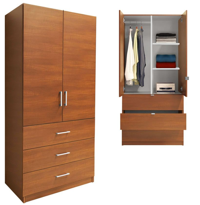 Exceptionnel Three Drawer Armoire Has Two Doors Above. The Easily Accessed Double Doors  Open To Reveal Hanging Clothes ...