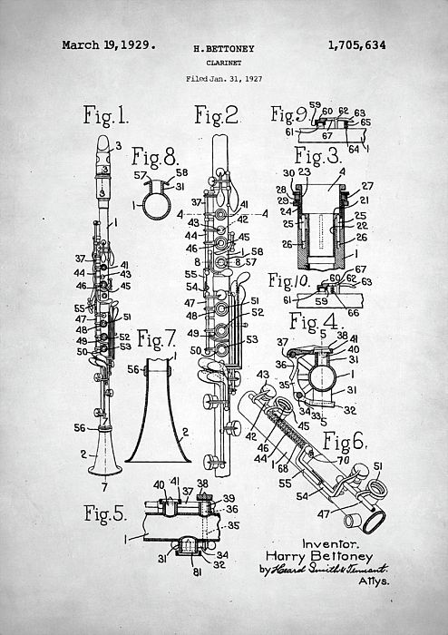 clarinet patent, clarinet, patent, patent art, patent print, patent ...