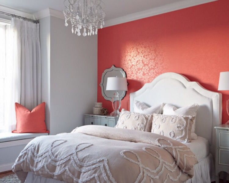 Wonderful Grey And Coral Bedroom