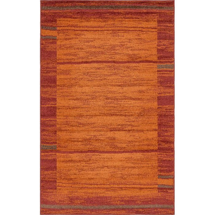 Bryan Abstract Brick Red Sage Green Orange Area Rug Rugs Unique Loom Area Rugs