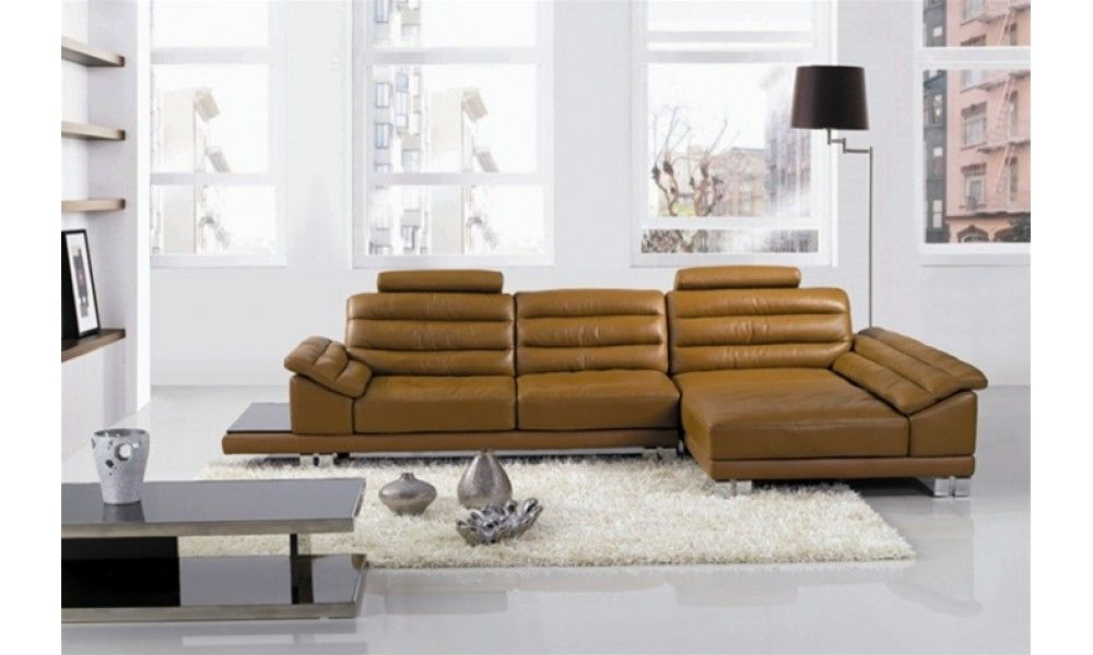 Couch With Chaise Lounge Attached Jacques Light Brown Leather Sectional Sofa End Table