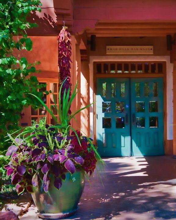 Santa Fe Grace Southwest Photograph New Mexico Architecture Serantonidesigns Home Decor Sw Teal Plum Green Orange