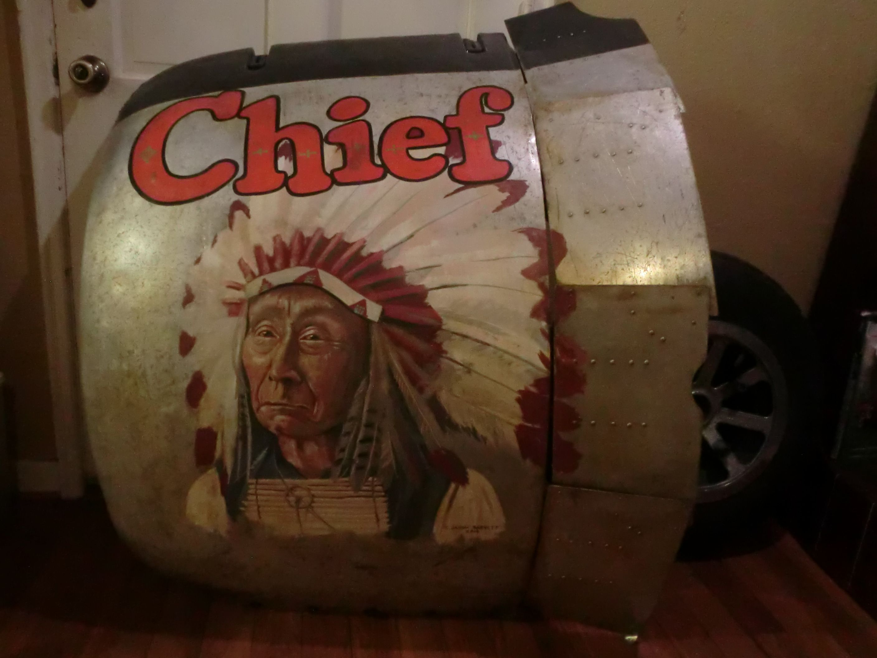 WWII Douglas C-47 Engine Cowling with nose art painting