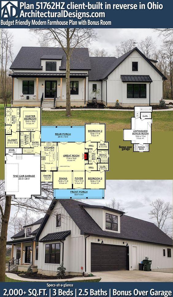 Photo of Plan 51762HZ: Budget Friendly Modern Farmhouse Plan with Bonus Room