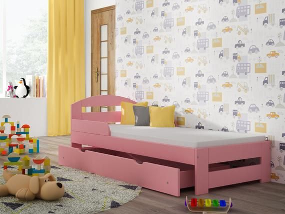 Photo of Single Bed – Kiko For Kids Children Toddler Junior Size-140×70 Colour-Pink Drawers-Yes Mattress-None