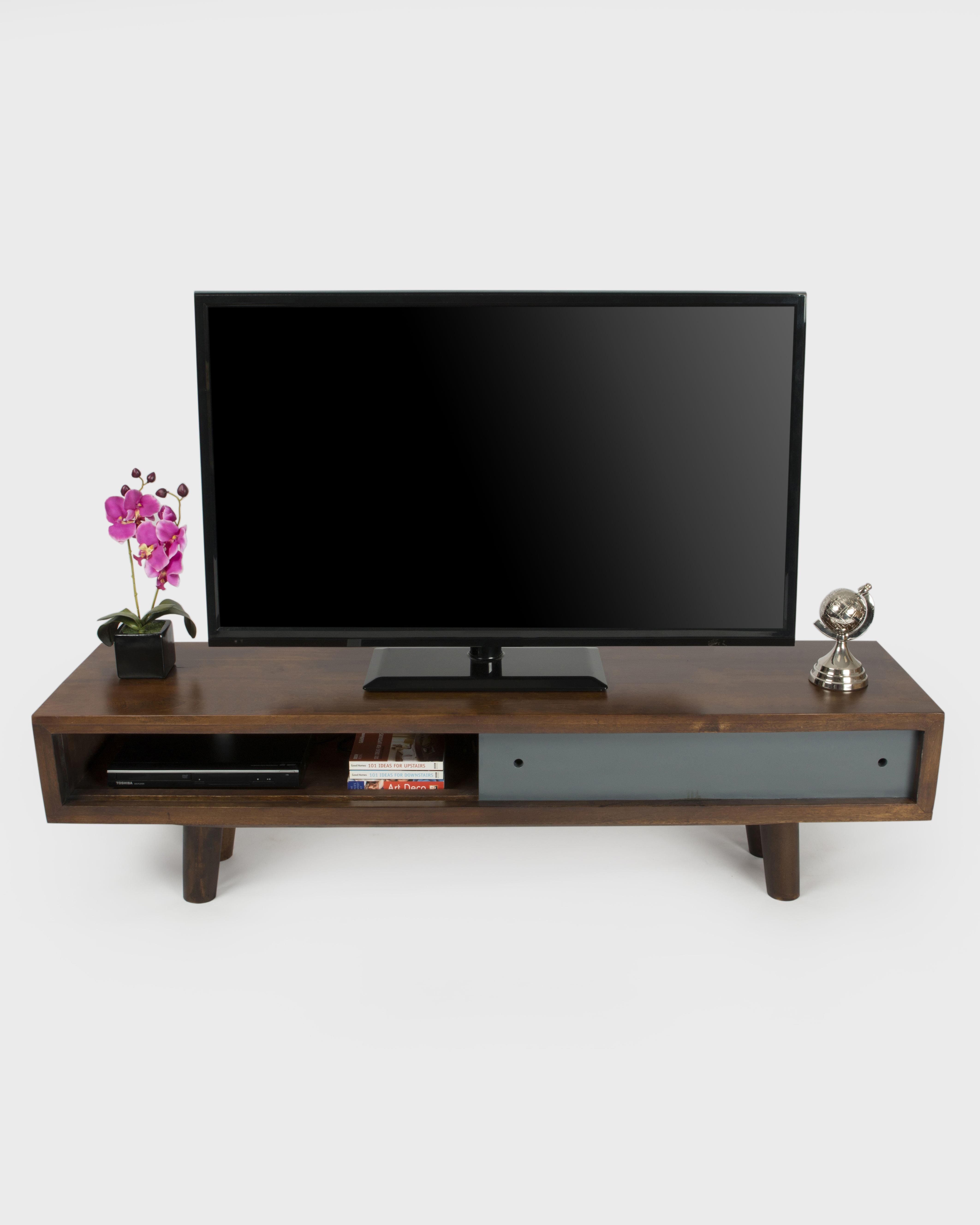Retro Style Tv Stand In A Choice Of Colours Made From Hard Mango Wood